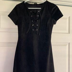 Black, suede Express dress